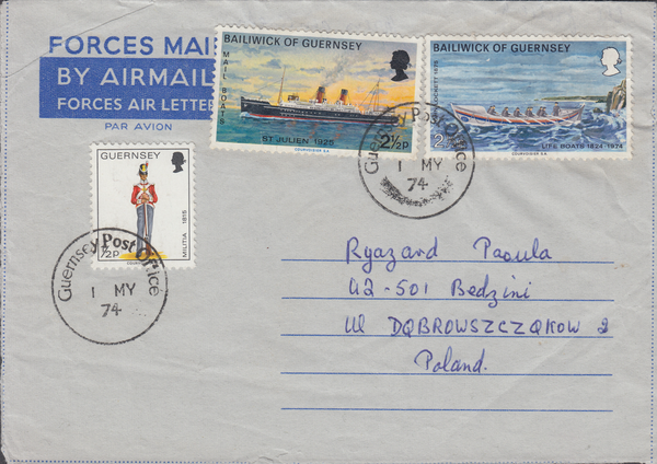 89678 - 1974 GUERNSEY TO POLAND. Forces Air Letter Guernse...