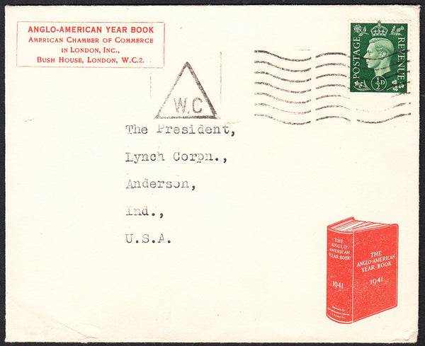89684 - ADVERTISING. 1941 envelope London to Indiana, USA ...