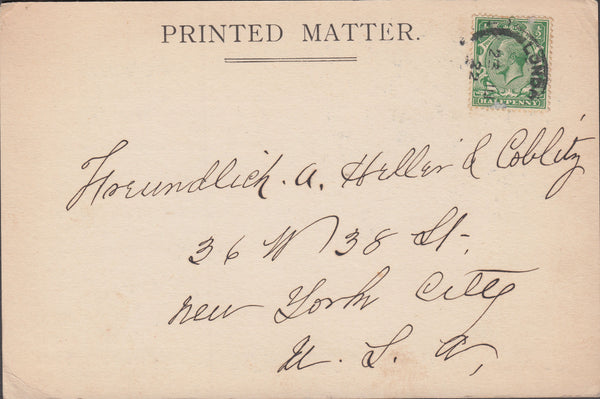 89685 - 1922 ILLUSTRATED PRINTED MATTER LONDON TO USA. Privately produced postcard L...