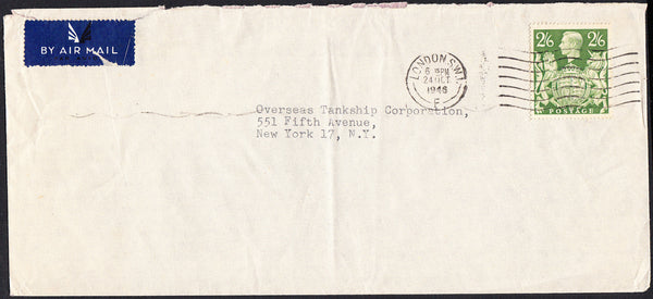 89688 - 1946 MAIL LONDON TO USA/2/6D YELLOW-GREEN (SG476b). Large envelope (229x 108) London to New York with KGVI 2...