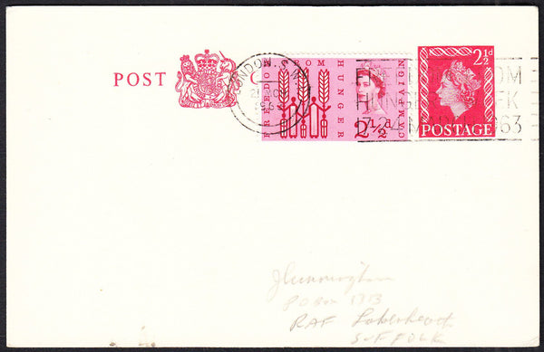 89718 - 1963 QEII 2½d scarlet postcard London to Suffolk u...