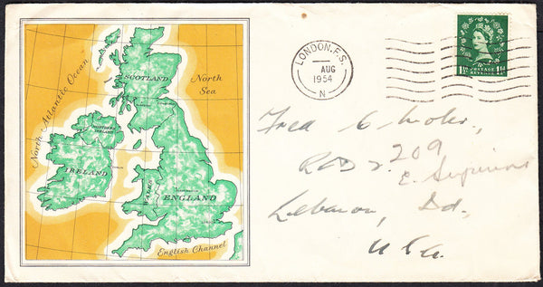 "89721 - ""PER S.S. QUEEN MARY"" CACHET. 1954 envelope London..."