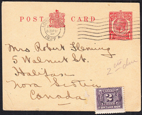 89724 - 1927 KGV 1D POST CARD STAMPED TO ORDER UNDERPAID LONDON TO NOVA SCOTIA. KGV 1d post car...