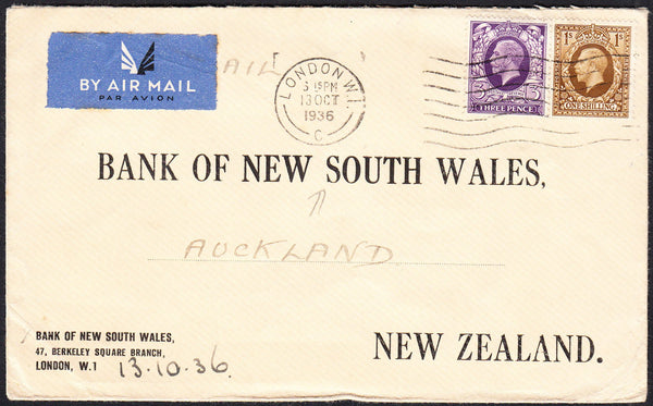 89725 - 1936 MAIL LONDON TO NEW ZEALAND. Envelope London to Auckl...