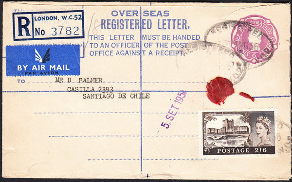 89734 - 1956 2/6 CASTLE USAGE LONDON TO CHILE. QEII 6d mauve overseas registered envelope Lo...