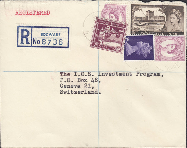 89736 - 1967 REGISTERED MAIL EDGWARE TO GENEVA/2/6D CASTLE. Envelope sent registered mail Edgware to Gene...