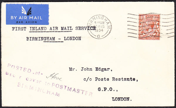 89745 - 1934 POSTED UNDER COVER MAIL HOVE - BIRMINGHAM - LONDON. Envelope with KGV 1½...