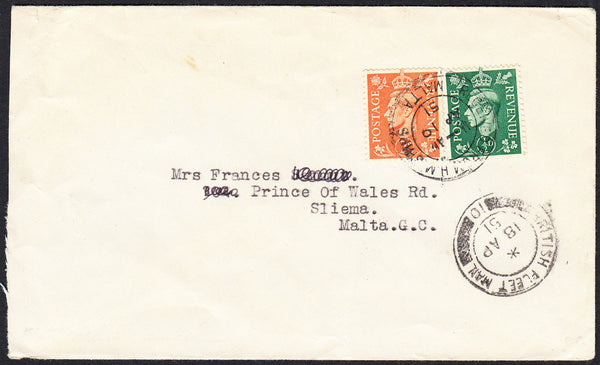 89777 - 1951 envelope to Malta with KGVI 2d and ½d tied RE...