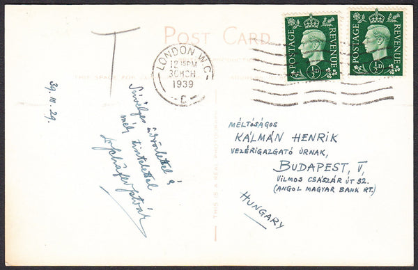 89870 - 1939 UNDERPAID MAIL TO HUNGARY. Postcard London to...