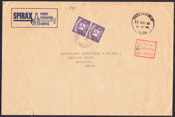 89874 - 1966 ADVERTISING GLASGOW TO YORKS/POSTAGE DUE. Large envelope (230x152mm)...