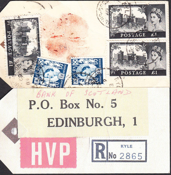 89920 - 1969 HIGH VALUE PACKET. Parcel tag with Kyle regis...