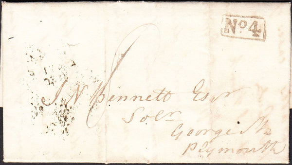 90085 - 1830 DEVON/EXETER PENNY POST. 1830 entire to Plymouth dated 30th April 18...