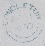 90113 BLUE '448' NUMERAL OF LEEK (STAFFS) ON COVER (SPEC B1xb).