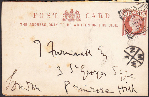 90122 - 1885 MAIL USED IN LONDON/CIRCULAR INSTRUCTIONAL MARK. QV ½d brown postcard (tone spots) used locall...