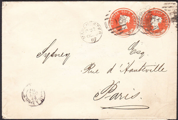 90128 - 1887 envelope Manchester to Paris with two QV 4d v...