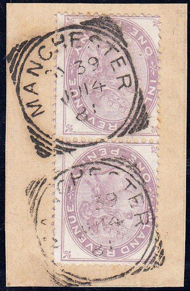 90175 - Pair of QV 1d Postal Fiscals tied to small piece w...
