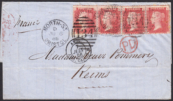 90213 - PL.91 (NA NB NC ND) (SG43) ON COVER TO REIMS. 1866...