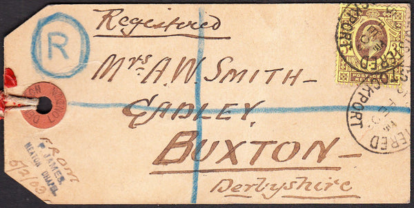 90227 - 1903 parcel tag sent registered mail Stockport to ...