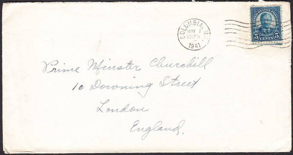 "90263 - MAIL TO WINSTON CHURCHILL. 1941 envelope USA to ""P..."