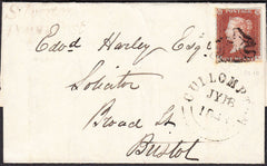 90319 - 1843 DEVON/'SILVERTON PENNY POST' HAND STAMP(DN1263). Wrapper Cullumpton to Bristol with fin...