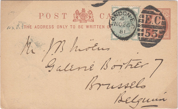 90325 - 1881 QV ½D BROWN POST CARD LONDON TO BELGIUM UPRATED WITH ½D PALE GREEN (SG165).