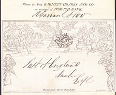 90329 - 1842 1D MULREADY WRAPPER 'BARNETT HOARES AND COMPANY' MULREADY ADVERT (MA301c). A fine 1d Mulready wrapp...D