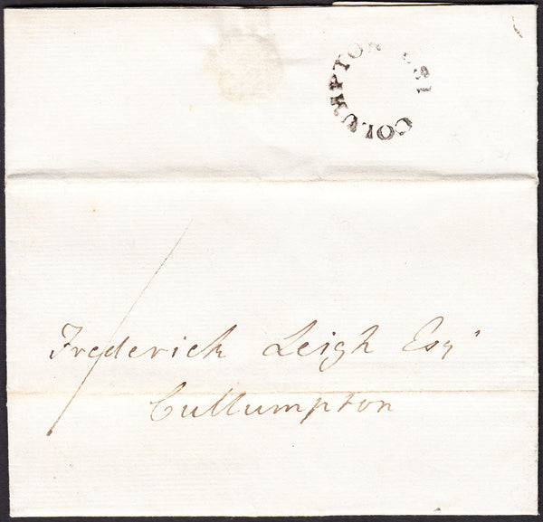 90331 - 1828 DEVON/'COLUMPTON 182' HAND STAMP. Entire letter to Cullumpton dated May 19th wi...