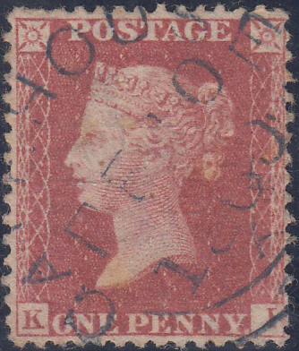 90398 - 1860 'GATEHOUSE' (DUMFRIES) DATE STAMP  CANCELLING STAMP/PL.44 (SG40)(KI).