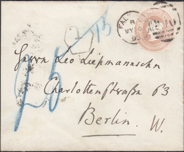 90407 - 1893 1D PINK ENVELOPE UNDERPAID FALFIELD (GLOS.) TO BERLIN.