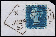 90424 - DUBLIN DIAMOND SPOON CODE X 'PAID' ERASED (RA79)/2D BLUE PL.5 (SG34)(AB).