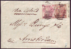90486 - 1867 MAIL LONDON TO AMSTERDAM WITH 3D ROSE AND 10D PALE RED-BROWN (SG113).