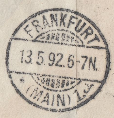 90506 - 1892 10D EMBOSSED STAMPED TO ORDER PLUS 1D LILAC (SG172) ON MAIL LONDON TO GERMANY.