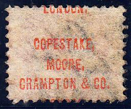 "90682 ""COPESTAKE, MOORE, CRAMPTON AND CO. LONDON."" UNDERPRINT IN RED/½d BANTAM PL.10 (FQ) (SG48 Spec.PP27)."