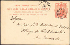 90884 - 1898 1D UPU POST CARD BUCKFASTLEIGH TO BELGIUM WITH BUCKFASTLEIGH CDS.