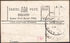 90886 - PARCEL POST LABEL/WARWICKS. 1903? label COVENTRY L...