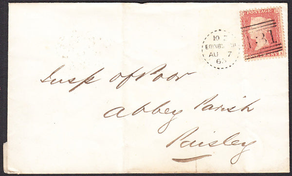 91172 - EDINBURGH DOTTED CIRCLE (RA3). 1863 envelope Edinb...
