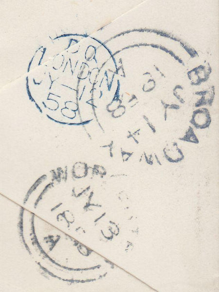 91178 - 1858 MISSENT TO WORCESTER (WO929). Envelope London to Broadway, Wo...