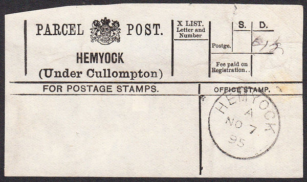 91200 - PARCEL POST LABEL/DEVON. 1895 label (slight imperf...