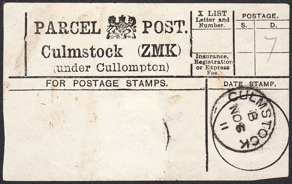 91206 - PARCEL POST LABEL/DEVON. 1911 label Culmstock (ZMK...