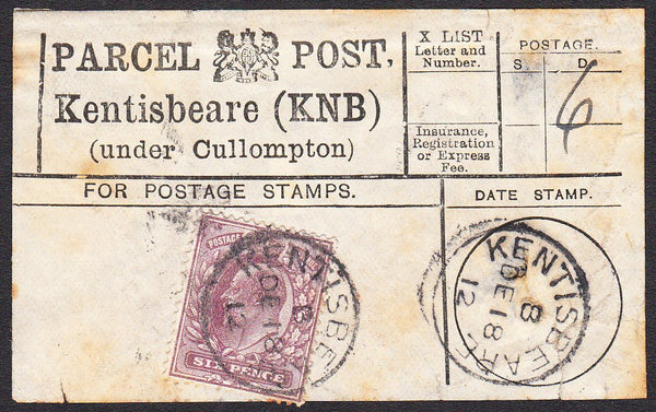 91210 - PARCEL POST LABEL/DEVON. 1912 label Kentisbeare (K...