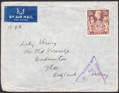 91263 - KGVI MAIL FROM FIELD POST OFFICE TO GLOS 2/6D BROWN (SG476). Undated envelope from an overseas Field Post Office t...