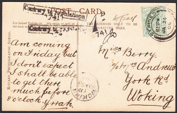 91280 - MIDDLESEX/INSTRUCTIONAL/UNDERPAID MAIL. 1906 postc...