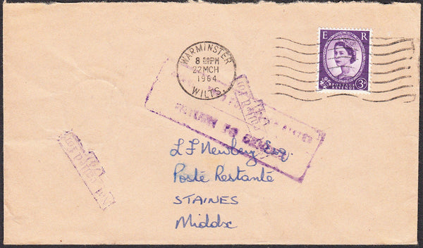 91281 - MIDDLESEX/INSTRUCTIONAL/POST RESTANTE. 1964 envelo...