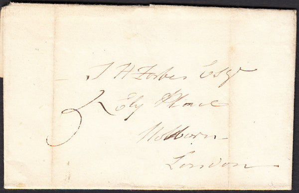 91289 - MIDDLESEX. 1829 letter Staines to Holborn with lig...