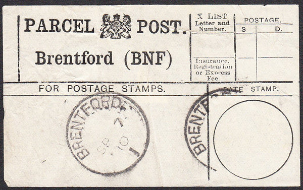 91301 - PARCEL POST LABEL/MIDDX. 1910 label BRENTFORD (BNF...