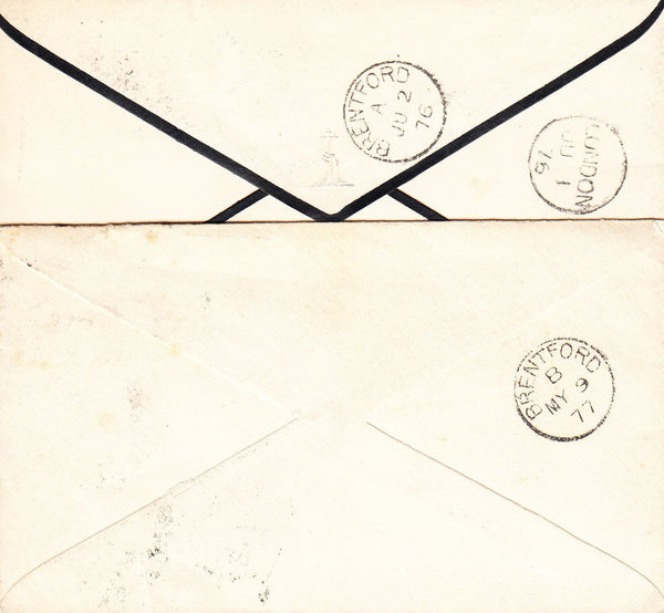 91305 - 1876-77 'BRENTFORD' DATE STAMPS ON INCOMING MAIL FROM LONDON.