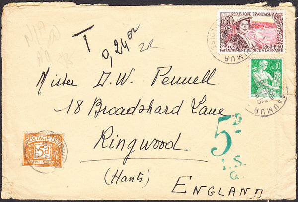 91332 - 1960 UNDERPAID MAIL FRANCE TO HANTS. Envelope (some imperfections...
