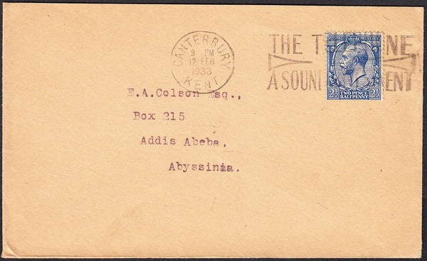 91336 - 1933 MAIL CANTERBURY TO ABYSSINIA. Envelope Canterbury to Add...