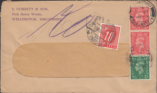 91337 - 1946 UNDERPAID MAIL WELLINGTON (SHROPS) TO SWITZERLAND.