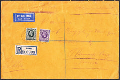 91347 - 1936 envelope sent registered air mail Cowes to Sw...